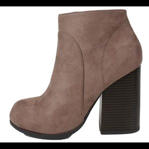Shoes - Cement faux suede Stacked heel ankle bootie